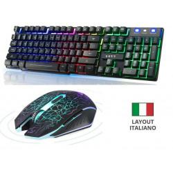 KIT GAMING TASTIERA ITALIANA MOUSE RGB Retroilluminato LED GIOCO TIPO MECCANICA