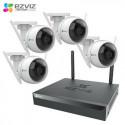 KIT VIDEOSORVEGLIANZA WIRELESS EZVIZ IP + 4 TELECAMERE WIFI IP66 1080P HD 2 mpx