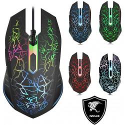 Mouse da Gaming con Cavo, sensore Ottico Fino a 2400 DPI, 6 Tasti e Illuminazione a LED con 7 Colori