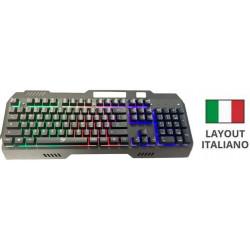 Tastiera Gaming da gioco In METALLO Meccanica RGB layout italiano LED ILLUMINATA